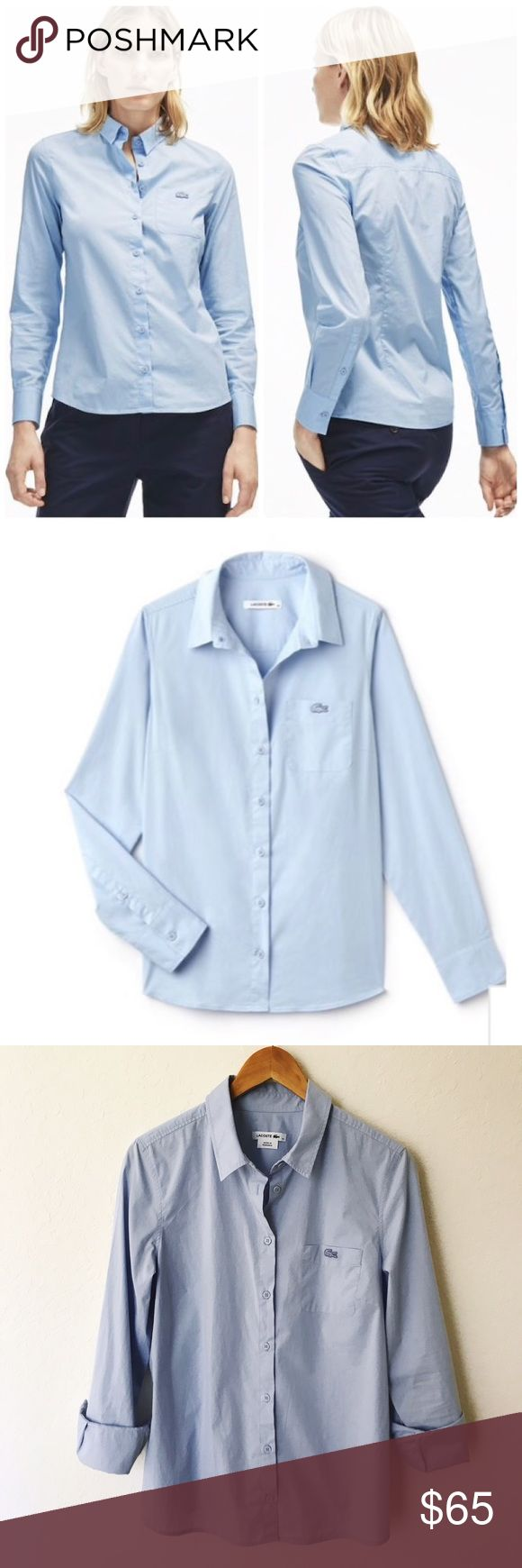 "Lacoste Light Blue Button Down Long Sleeve Shirt Excellent preowned condition, baby blue professional collar work shirt. One pocket on the chest with Lacoste logo. Approximate measurements when laid flat: 21"" Bust, 27"" Length, 20"" sleeve length from armpit to hem. Based on Lacoste size chart this would be an XL or size 12. Lacoste Tops Button Down Shirts"