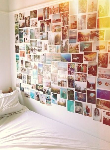 Photo wall. Great use for all of those old pictures laying around in a box