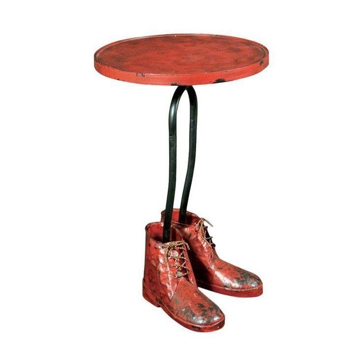 Metal Side Table Dark Orange Red Boot Base Steel Living Room Hallway Furniture
