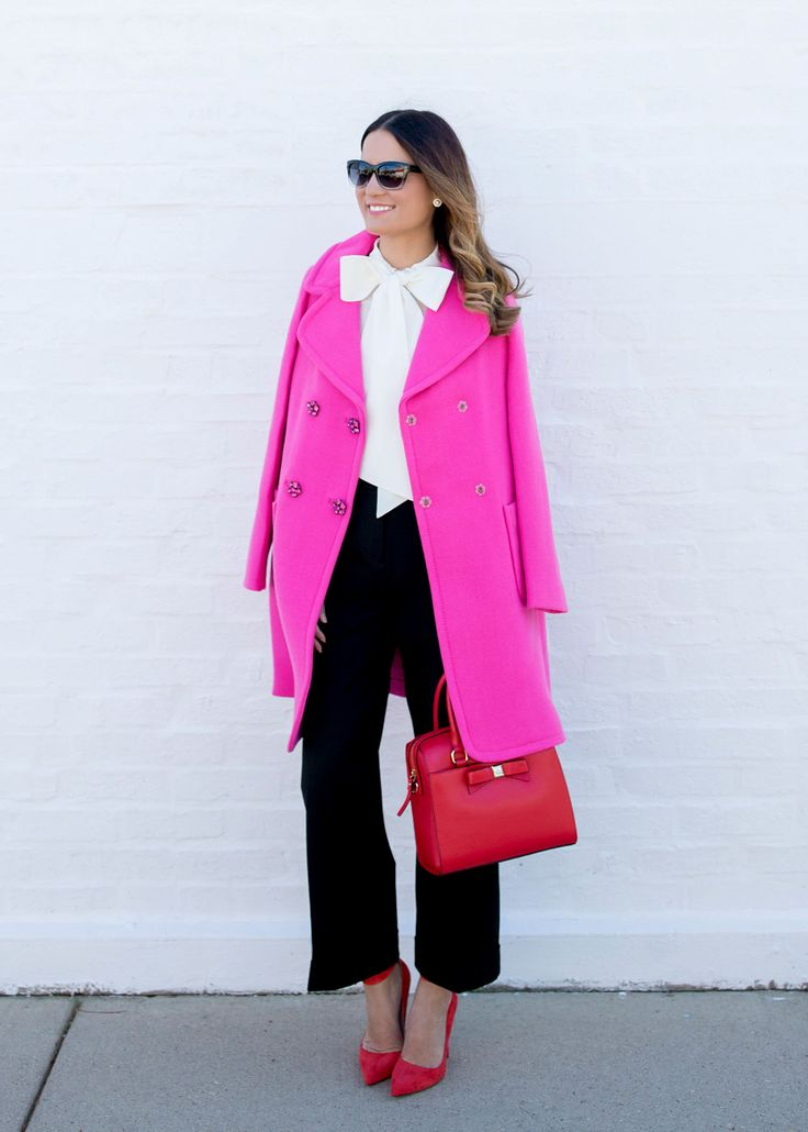 kate spade new york pink wool coat and bow top