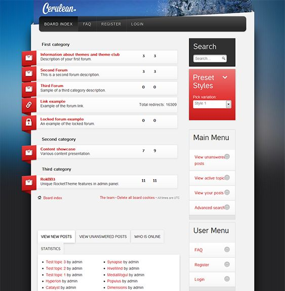 This responsive phpBB3 style features a contact module, 6 preset color variations, 25 structural module suffixes, RokNavMenu Exporter support, customizable layout options, and more.