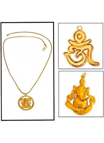 GOLD LORD GANESHA WITH OM DESIGN COMBO SET WITH ONE CHAIN PENDANT Combo Pendant Set, pendant set, combos, Latest pendants for men , trendy pendants for mens,mens jewellery, online jewellery for mens,menjewell.com