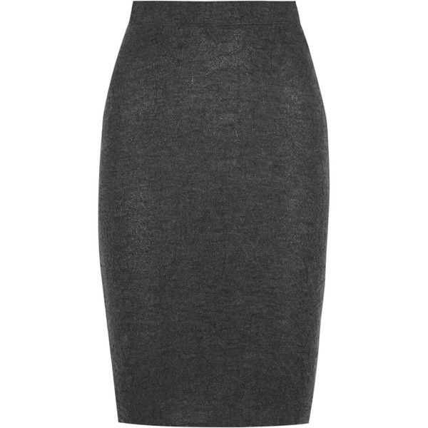 The Elder Statesman Cashmere pencil skirt ($840) ❤ liked on Polyvore featuring skirts, bottoms, dark gray, cashmere skirts, floral-print pencil skirts, dark grey skirt, flower print skirt and floral pencil skirt