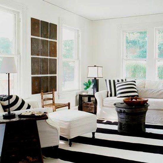 black n white striped carpet