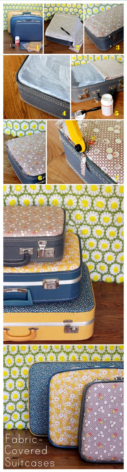 DIY fabric-covered vintage suitcases... for use or for decoration!