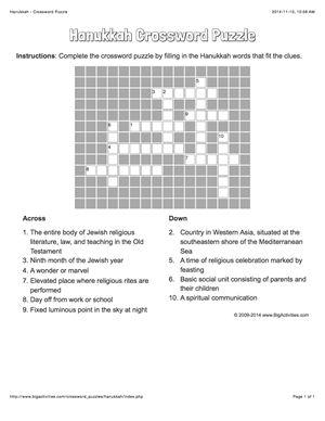 Hanukkah crossword puzzle that changes each time you visit