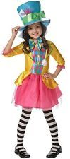 Girls Disney Mad Hatter Alice in Wonderland Book Day Fancy Dress Costume Outfit