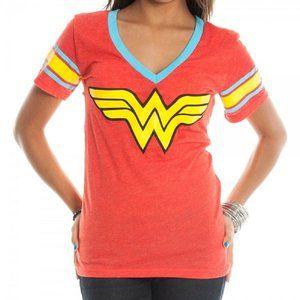 DC Comics Wonder Woman Logo Deep V-Neck Red Juniors T-shirt