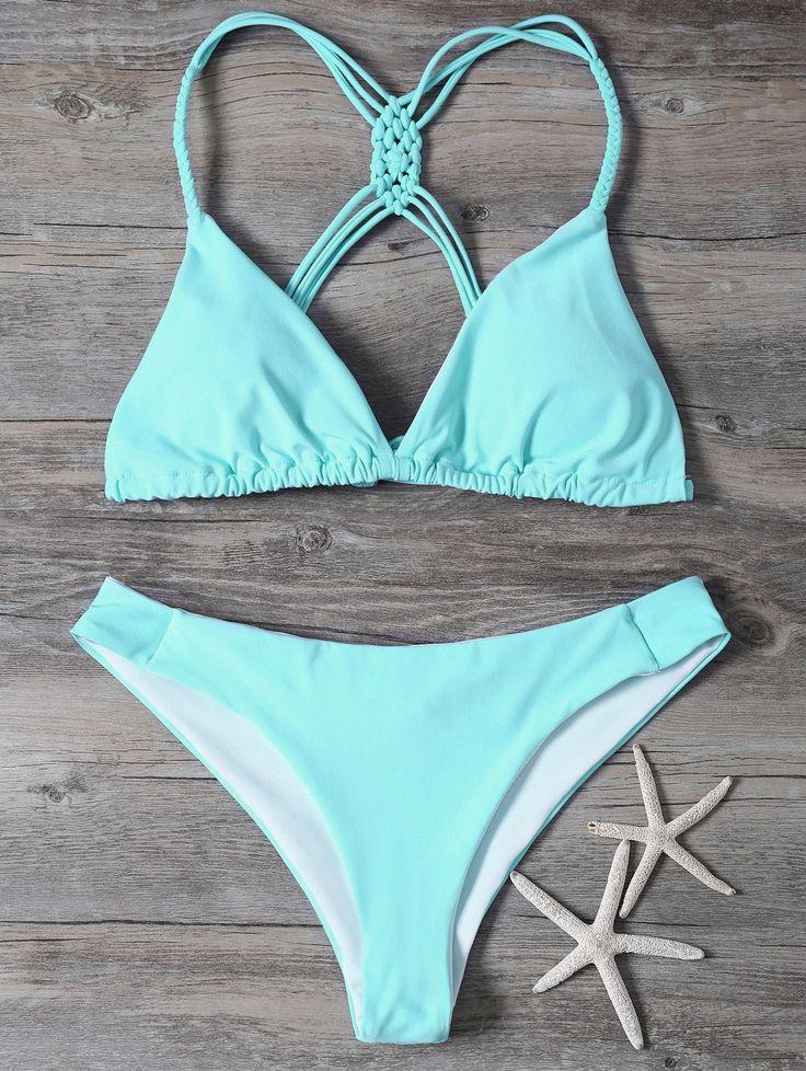 $16.49 Macrame Plunge High Leg Bikini - TURQUOISE S