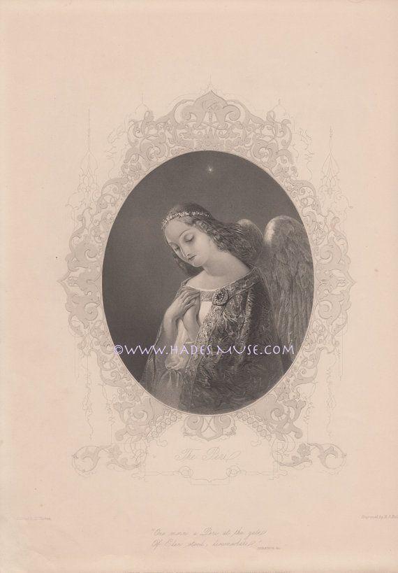 Gates Of Paradise-Eden-Sympathy-The Peri-Sad Spirit-Guardian Angel-Poem-1846 Old Antique Vintage Print-Gothic Picture-Engraving-Victorian