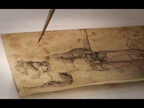 Great 4 minutes of a Getty Museum paper conservator restoring an old master drawing.