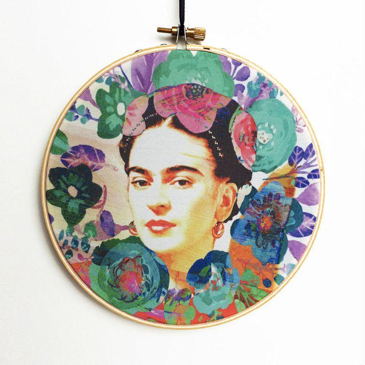 Frida Kahlo Hoop Art, Frida Hoop Art, Viva La Frida, Embroidery Hoop Art, Embroidery Hoop Decor, Hanging Wall Art, Canvas Hoop Decor by RegalosOnline on Etsy