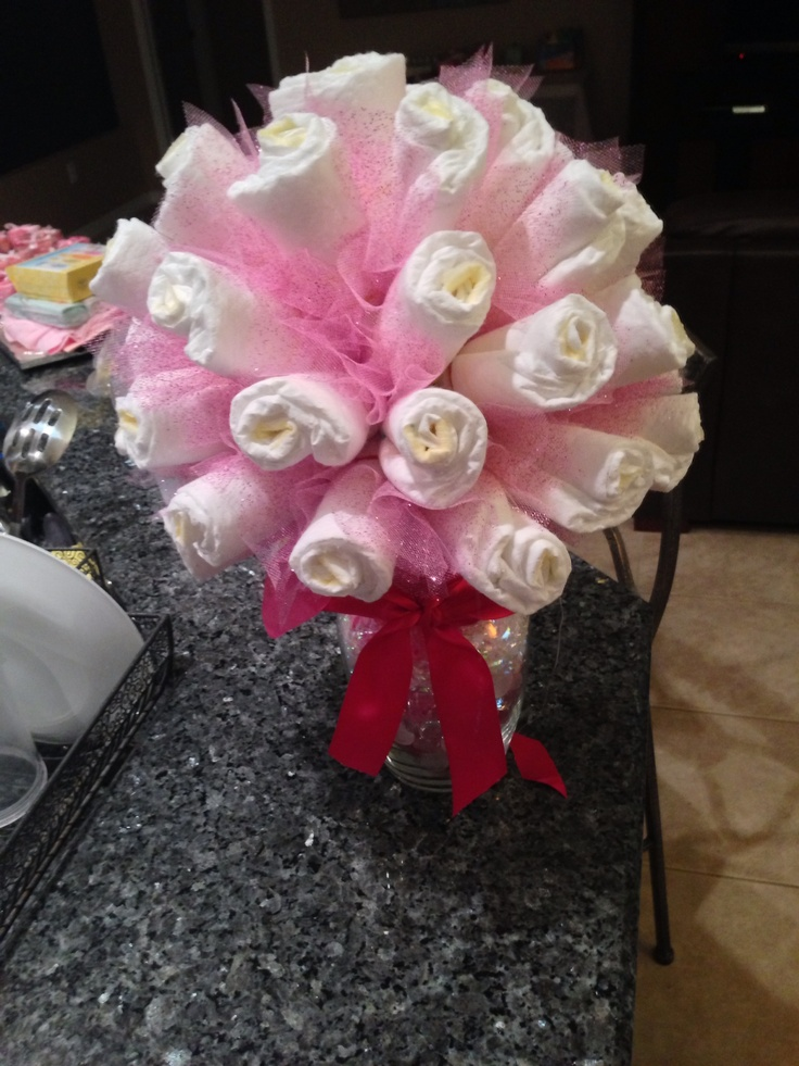 1000 images about diaper bouquet on pinterest baby for Pink diaper bouquet