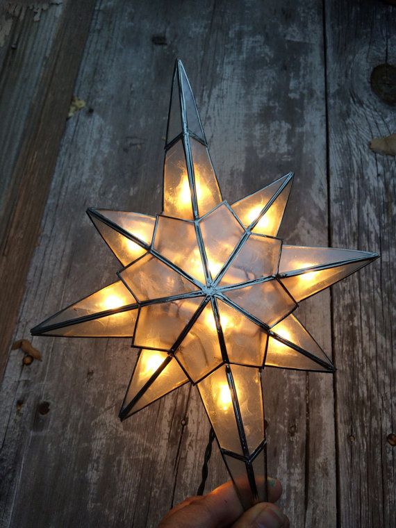 Vintage Shell And Metal Electric Star Tree Topper By Kurt