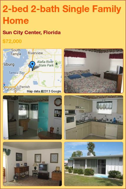 2-bed 2-bath Single Family Home in Sun City Center, Florida ►$72,000 #PropertyForSale #RealEstate #Florida http://florida-magic.com/properties/2458-single-family-home-for-sale-in-sun-city-center-florida-with-2-bedroom-2-bathroom