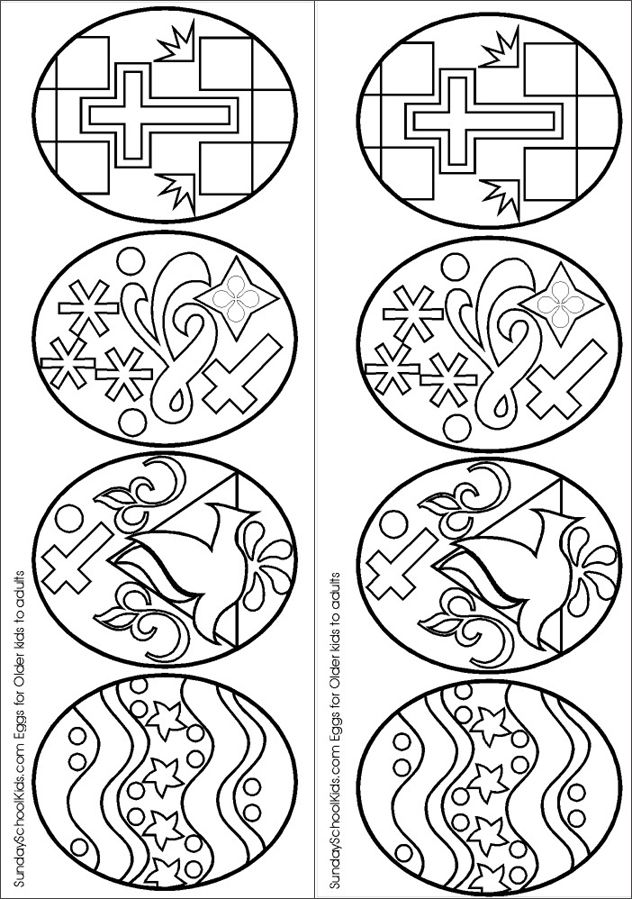 coloring page of Easter eggs - color these like stained glass #Easter