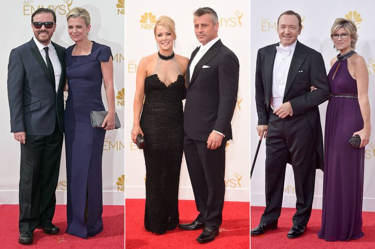 From left, Ricky Gervais and Jane Fallon; Andrea Anders and Matt LeBlanc; and Kevin Spacey and Ashleigh Banfield. #Beauty #hair #hairproducts #professionalhairproducts #salonproducts #distributor #BeautyProDistributor  #2014Emmys #EmmyAwards2014 #CelebrityHair #CelebrityHairStyles #Hair #EmmyHair