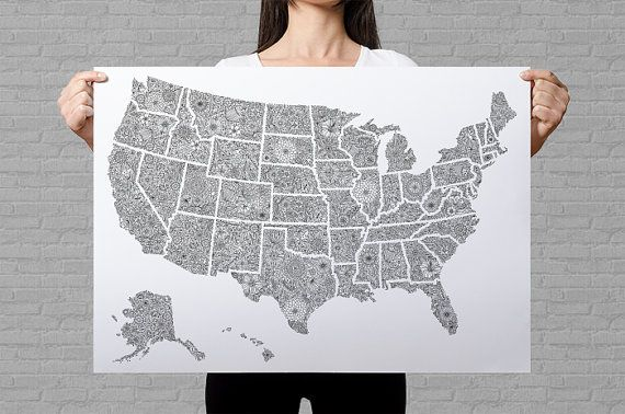 """A USA map poster printed onto 80gr white paper. Size of the giant coloring page is B2 (50x70cm, approximately 19x27"""").  The poster can be used as a sales map or a travel map. The art print might as well be framed and hanged as wall art.  Hours of coloring fun are guaranteed with the floral coloring page of United States.     ___    Here you can find more coloring posters:  https://www.etsy.com/shop/AnnaGrundulsDesign?section_id=17719419 