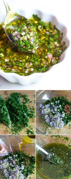 Easy, Homemade Chimichurri Sauce Recipe - Chimichurriis a zesty, green saucemade with fresh herbs, garlic, vinegar, chili pepper and olive oil that livens up pretty much anything you throw at it. #chimichurri #sauce