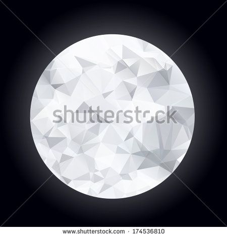 Abstract polygonal moon on a dark blue background - stock vector