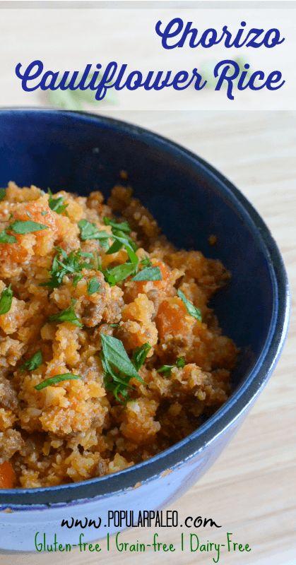 Chorizo Cauliflower Rice on www.PopularPaleo.com