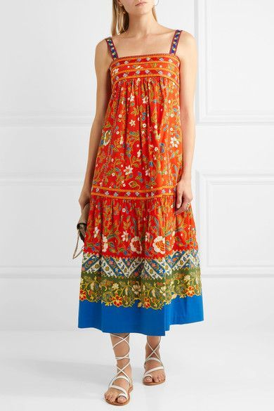 Tory Burch | Dayton embroidered printed cotton-blend midi dress | NET-A-PORTER.COM