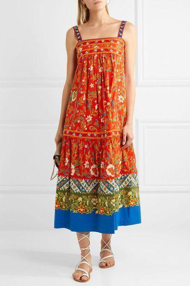 Tory Burch | Dayton embroidered printed cotton-blend midi dress | NET-A-PORTER.COM