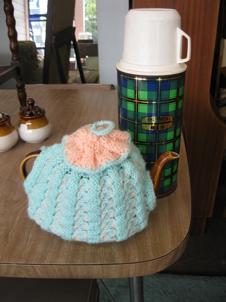 Woodgrain Formica, With Nan's tea cozy and tartan thermos - a fab 70's combination!