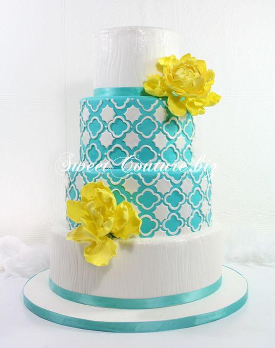 ... mariage turquoise gateau mariage contemporain gâteau de mariage