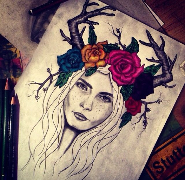INSTAGRAM: linyinwonderland .................................................. deer girl drawing hipster tumblr fantasy imagination hippie ethno fashion illustration