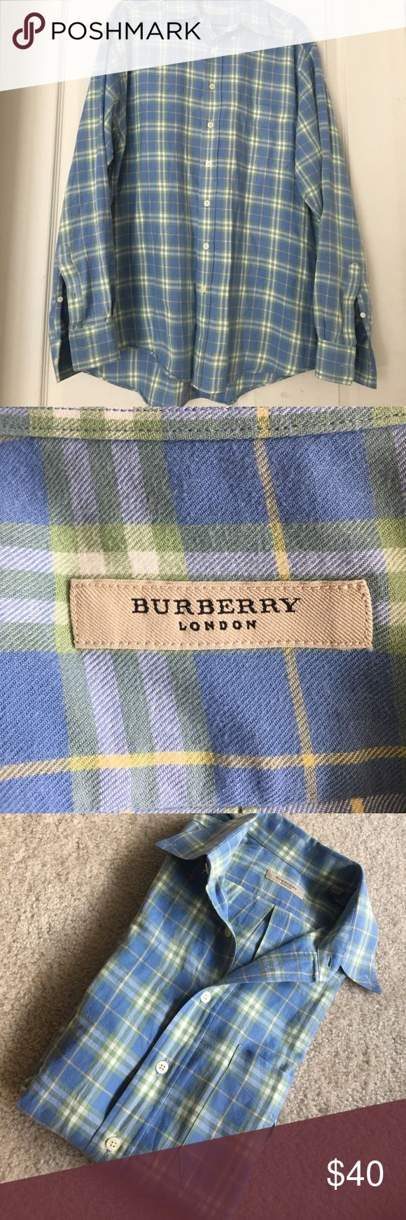 EUC Men's Burberry London button down  size M Used but in excellent shape no holes, rips or stain, pet free and smoke free home... very nice and quality wear for a very affordable price ♥️♥️♥️ Burberry Shirts Casual Button Down Shirts