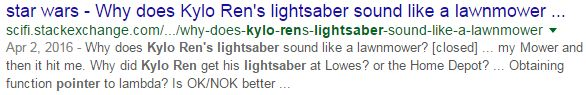 Why does Kylo Ren's lightsaber sound like a lawnmower? {Asking the real questions.}
