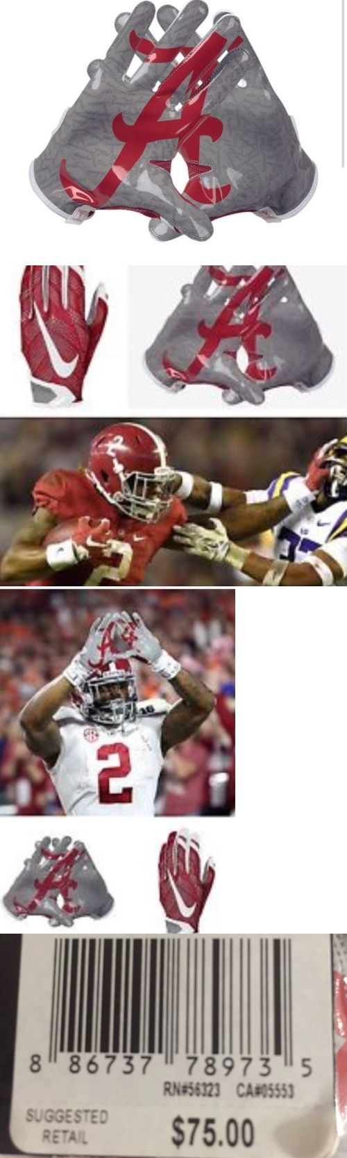 Gloves 159114: Alabama Crimson Tide Nike Vapor Knit Football Gloves Adult X Large-Derrick Henry BUY IT NOW ONLY: $44.99