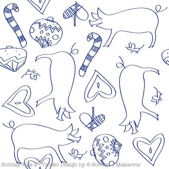 Holiday Pigs 2; Tröskö Design by © Solvejg J Makaretz