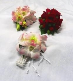 Orchid Corsage & Wristlet and Red Rose Corsage