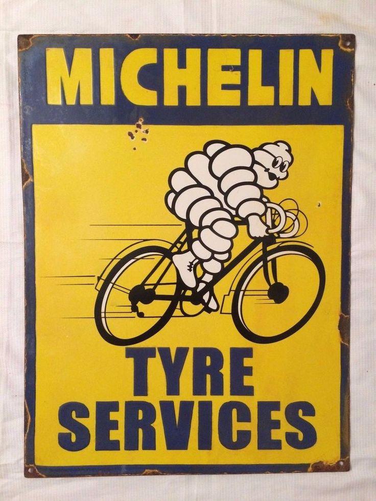 1940's Vintage Porcelain Michelin Tires Service Station Enamel Sign #Michelin
