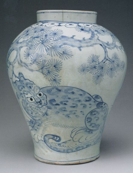 Blue and white jar with tigers, Joseon Dynasty (19th Century), 12 inches high