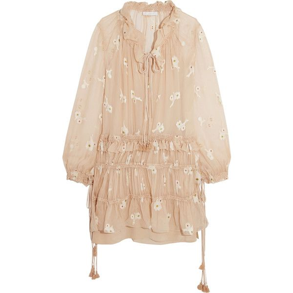 Chloé Embroidered silk-chiffon mini dress (€1.765) ❤ liked on Polyvore featuring dresses, beige, petite dresses, short loose dresses, short ruffle dress, slip dress and ruched mini dress