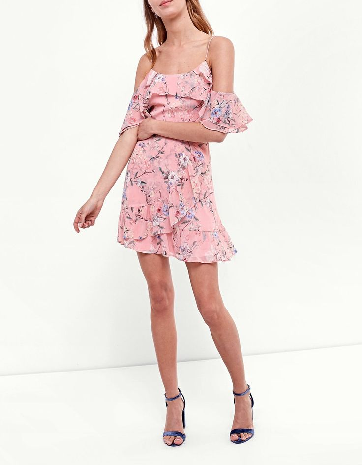 Airy dress with frill - Clothing | Stradivarius Spain