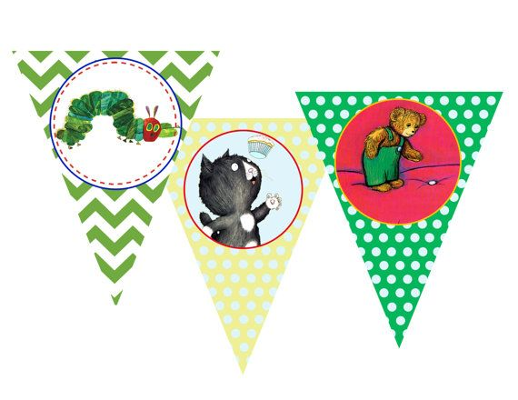 Childrens Book Themed Pennant Banner- Collection Featured on HWTM Blog- INSTANT DOWNLOAD via Etsy
