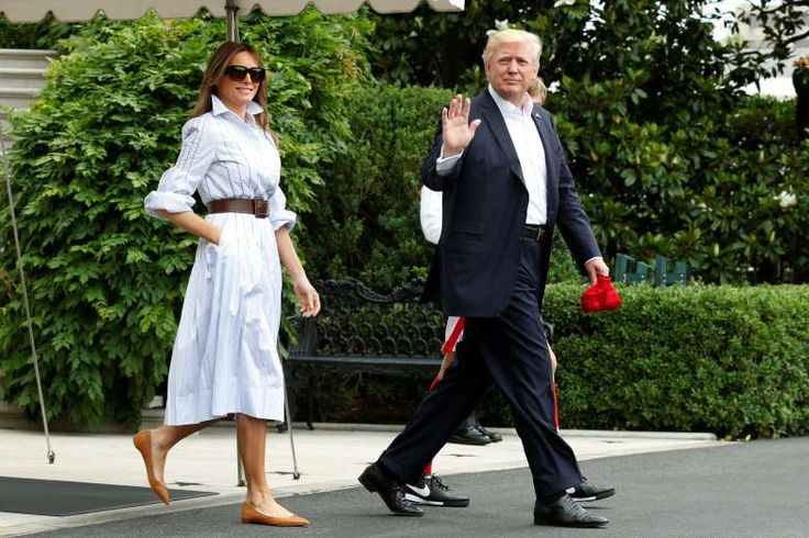 On her way to Camp David, Melania Trump dressed casually in a shirt dress by Gabriela Hearst, on June 17, 2017.