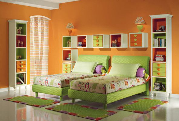 Bedroom, Fresh Green Orange Kids Bedroom Furniture For Girl Ideas With Simple Twin Bedroom Design And Orange Wall Paint Color Ideas Also Cute Love Bed Lamp Design Plus Floating Wall Shelf Design Ideas ~ Choosing The Kids Bedroom Furniture
