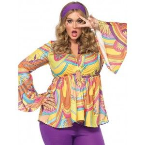"""Purple Haze Hippie Plus Size Womens Costume Our Price $62.00  Make love and not war in Leg Avenue's Purple Haze Hippie costume. The psychedelic Halloween costume set will have you saying """"peace out"""" to any other costume choice. This groovy look features a bell sleeved babydoll top with peek-a-boo accent bell bottom pants and matching head scarf. From the totally rad print to the flare pants and bell sleeves rock out on Halloween in style.  Other items shown sold separately.  #cosplay…"""