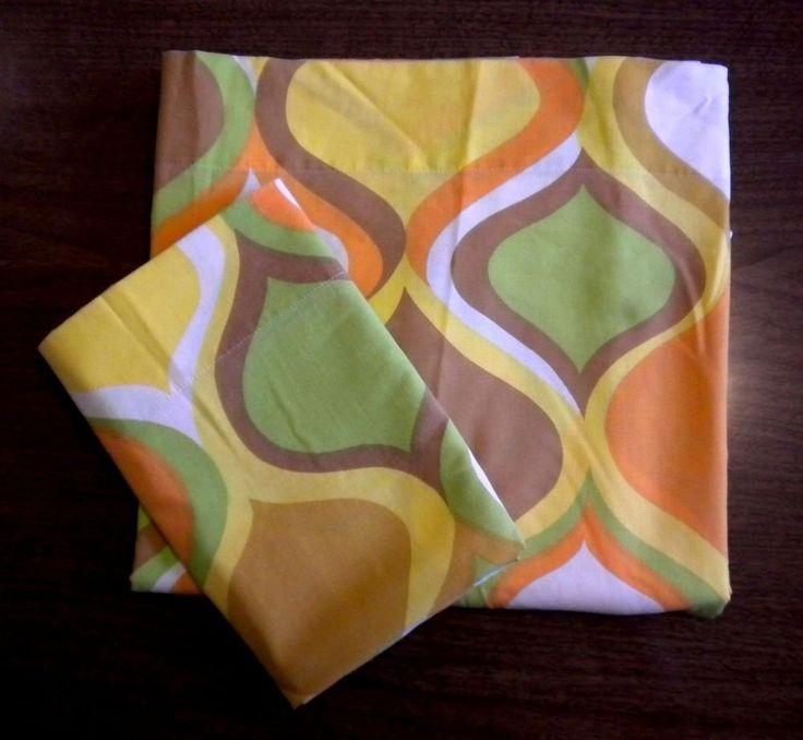 vintage muslin twin flat bed sheet brown green orange mod boho retro groovy euc