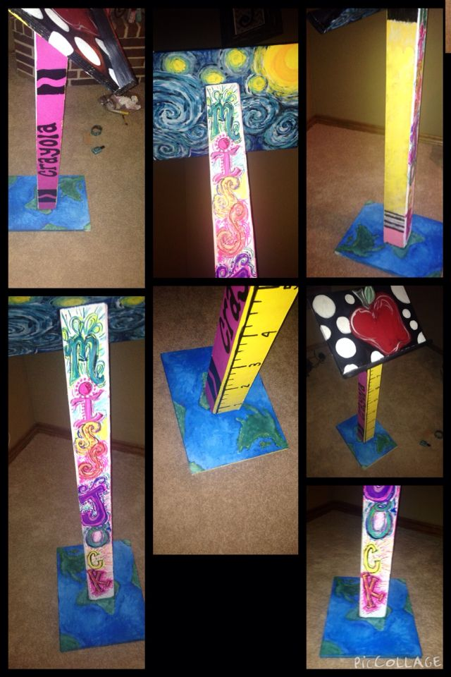 Hand painted teachers podium that I did for my nine year old daughter.