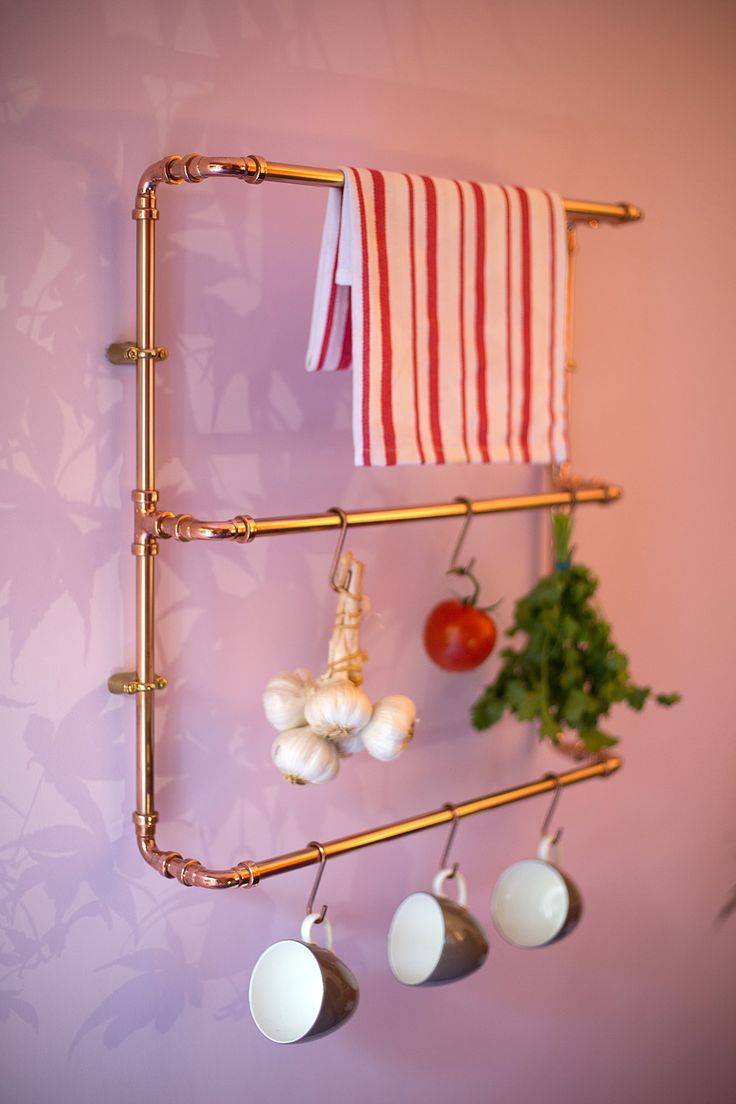 Copper Kitchen Towel Rail by Dog's Body     #copper #copperlove #kitchendesign #design #interiors #  http://www.dogsbodydesign.com/images?lightbox=dataItem-iu48dhry