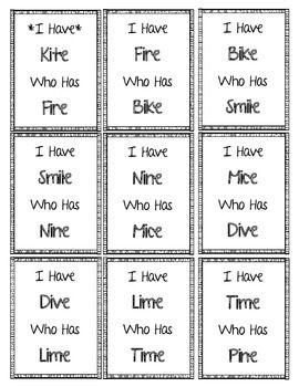 This is an I Have... Who Has... game for long i words with a silent e at the end.  Print the cards on colored card stock and laminate them for durability.  This set includes 36 cards total.