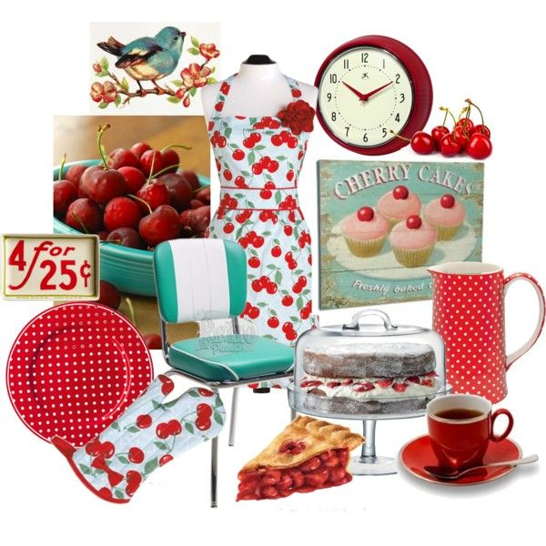 """Cheery Cherry Retro Kitchen"" by bschultea on Polyvore"