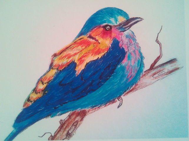 Blue Bird Giclee Print Of Original Painting, Feather Friend, Fluffy Cute Bird £12.95