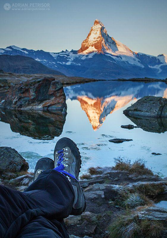 Relaxing view Matterhorn at sunrise.